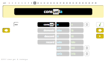 intelengua spanish verb conjugation practice app matching irregular present tense subjunctive mode